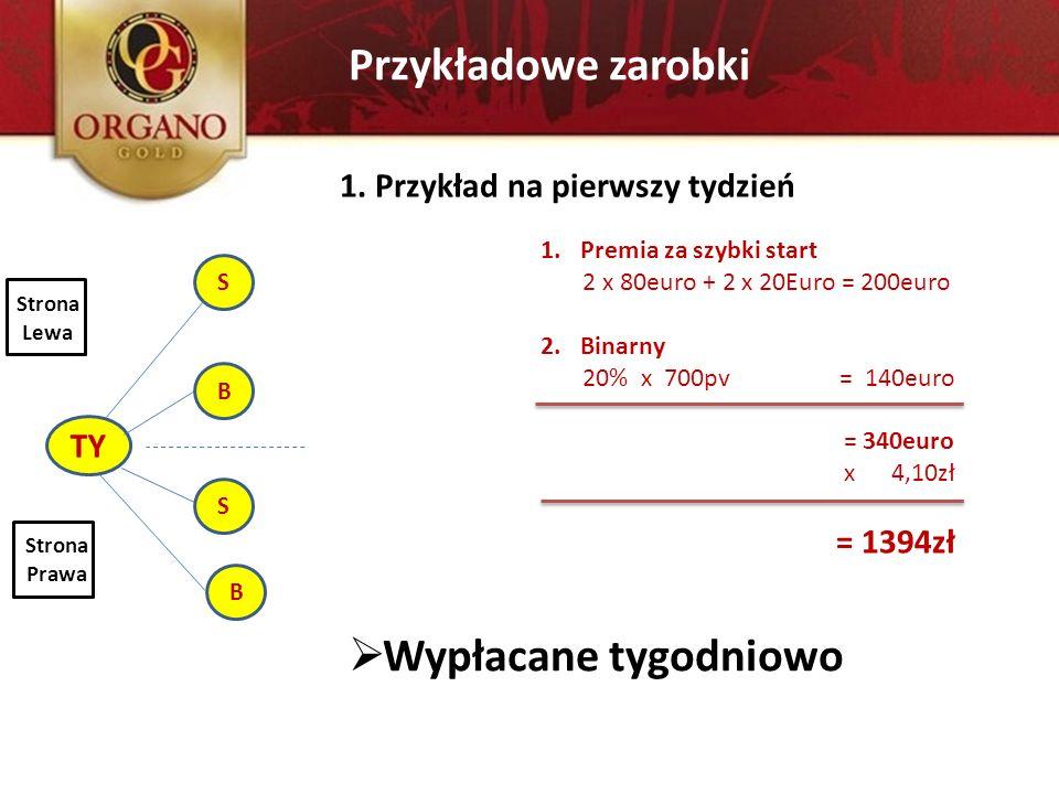 Przykładowe zarobki TY S B S B 1. Przykład na pierwszy tydzień Strona Lewa Strona Prawa 1.Premia za szybki start 2 x 80euro + 2 x 20Euro = 200euro 2.B