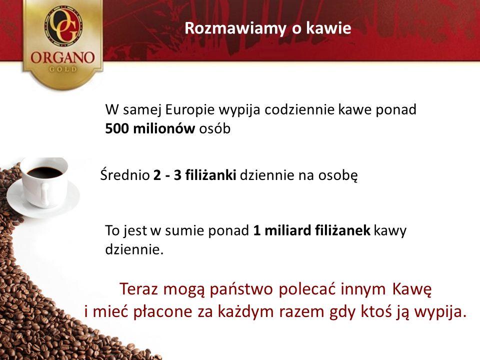 Rozmawiamy o kawie W samej Europie wypija codziennie kawe ponad 500 milionów osób Średnio 2 - 3 filiżanki dziennie na osobę To jest w sumie ponad 1 mi
