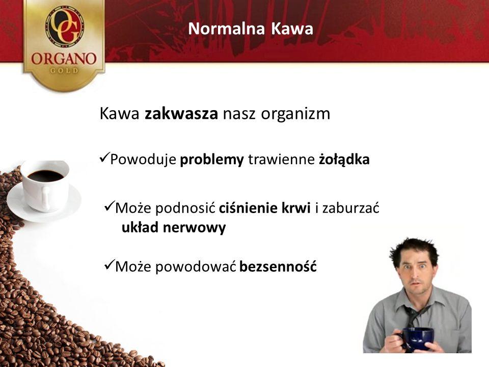 Normalna Kawa Kawa zakwasza nasz organizm Powoduje problemy trawienne żołądka Może podnosić ciśnienie krwi i zaburzać układ nerwowy Może powodować bez