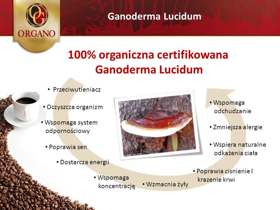 Ganoderma Lucidum Przeciwutleniacz Oczyszcza organizm Wspomaga system odpornościowy Poprawia sen Dostarcza energii Wspomaga koncentrację Wzmacnia żyły