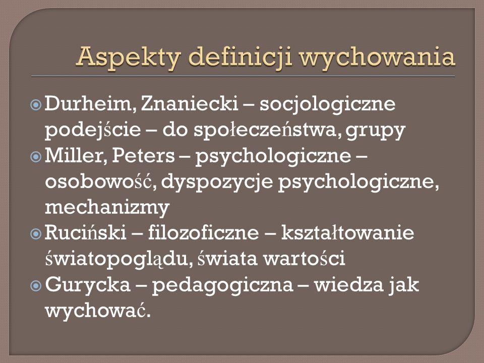 Durheim, Znaniecki – socjologiczne podej ś cie – do spo ł ecze ń stwa, grupy Miller, Peters – psychologiczne – osobowo ść, dyspozycje psychologiczne,