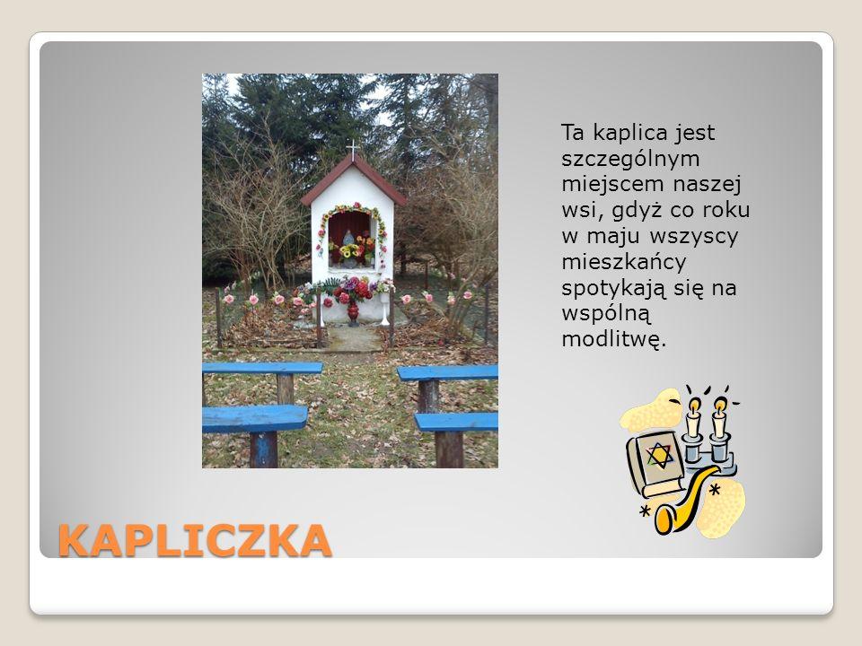 KAPLICZKA Ta kaplica jest szczególnym miejscem naszej wsi, gdyż co roku w maju wszyscy mieszkańcy spotykają się na wspólną modlitwę.
