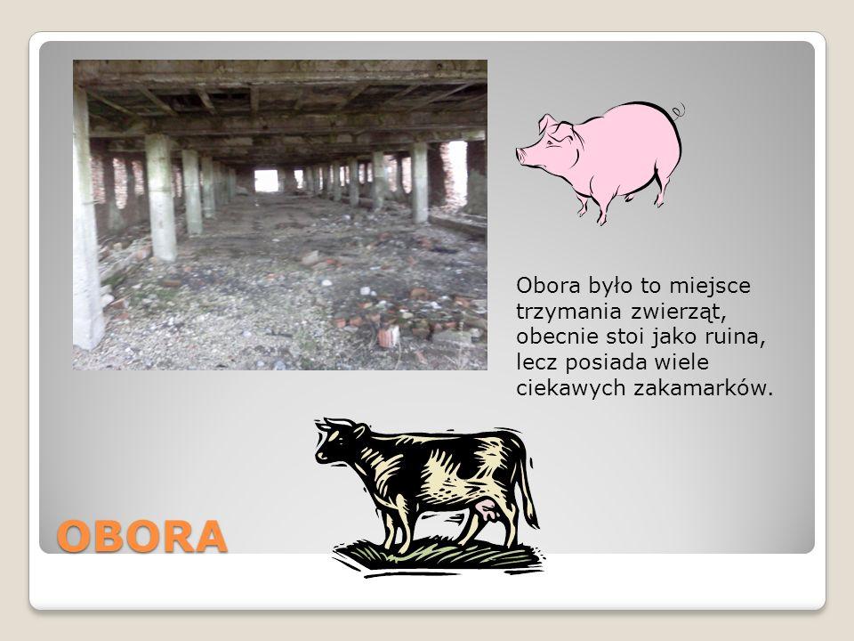 OBORA Obora było to miejsce trzymania zwierząt, obecnie stoi jako ruina, lecz posiada wiele ciekawych zakamarków.