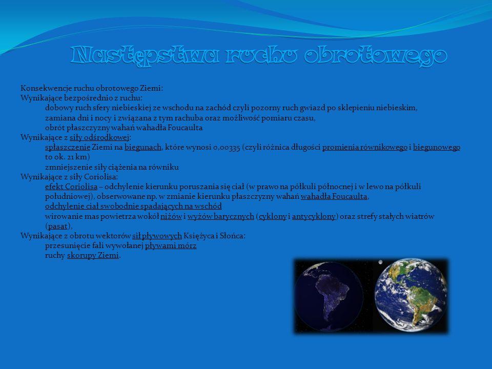 Konsekwencje ruchu obrotowego Ziemi: Wynikające bezpośrednio z ruchu: dobowy ruch sfery niebieskiej ze wschodu na zachód czyli pozorny ruch gwiazd po