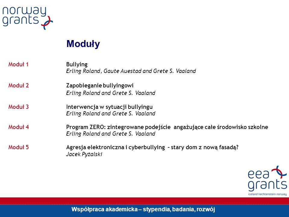 Współpraca akademicka – stypendia, badania, rozwój Moduły Moduł 1Bullying Erling Roland, Gaute Auestad and Grete S.