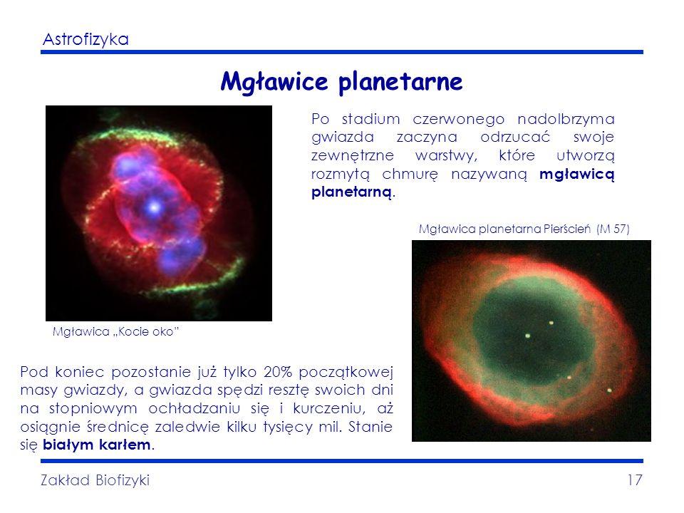 Astrofizyka Zakład Biofizyki17 Mgławice planetarne Po stadium czerwonego nadolbrzyma gwiazda zaczyna odrzucać swoje zewnętrzne warstwy, które utworzą