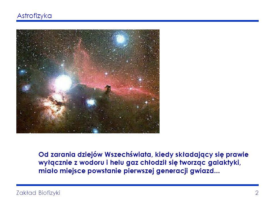 Astrofizyka Zakład Biofizyki2 Od zarania dziejów Wszechświata, kiedy składający się prawie wyłącznie z wodoru i helu gaz chłodził się tworząc galaktyk