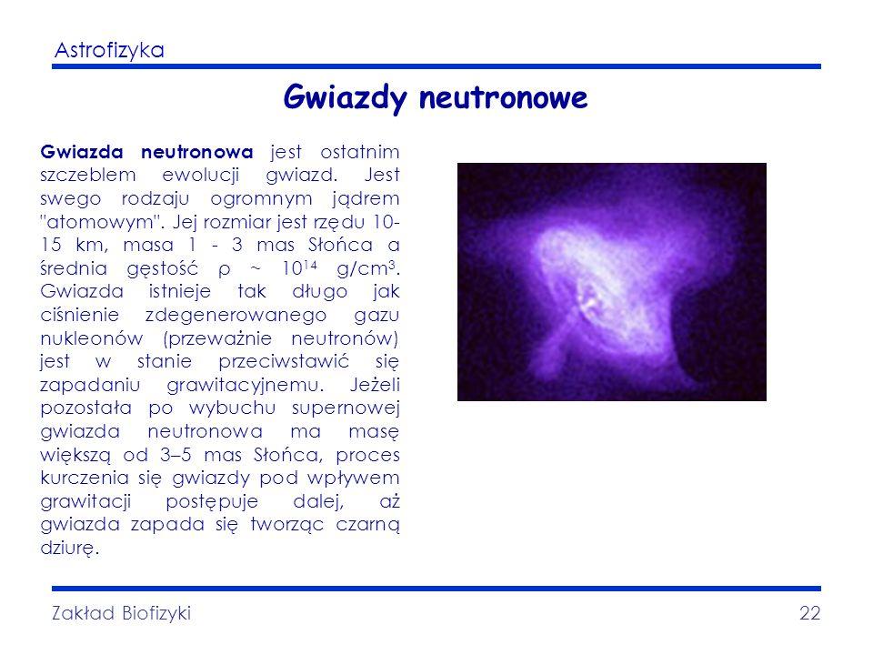 Astrofizyka Zakład Biofizyki22 Gwiazdy neutronowe Gwiazda neutronowa jest ostatnim szczeblem ewolucji gwiazd. Jest swego rodzaju ogromnym jądrem