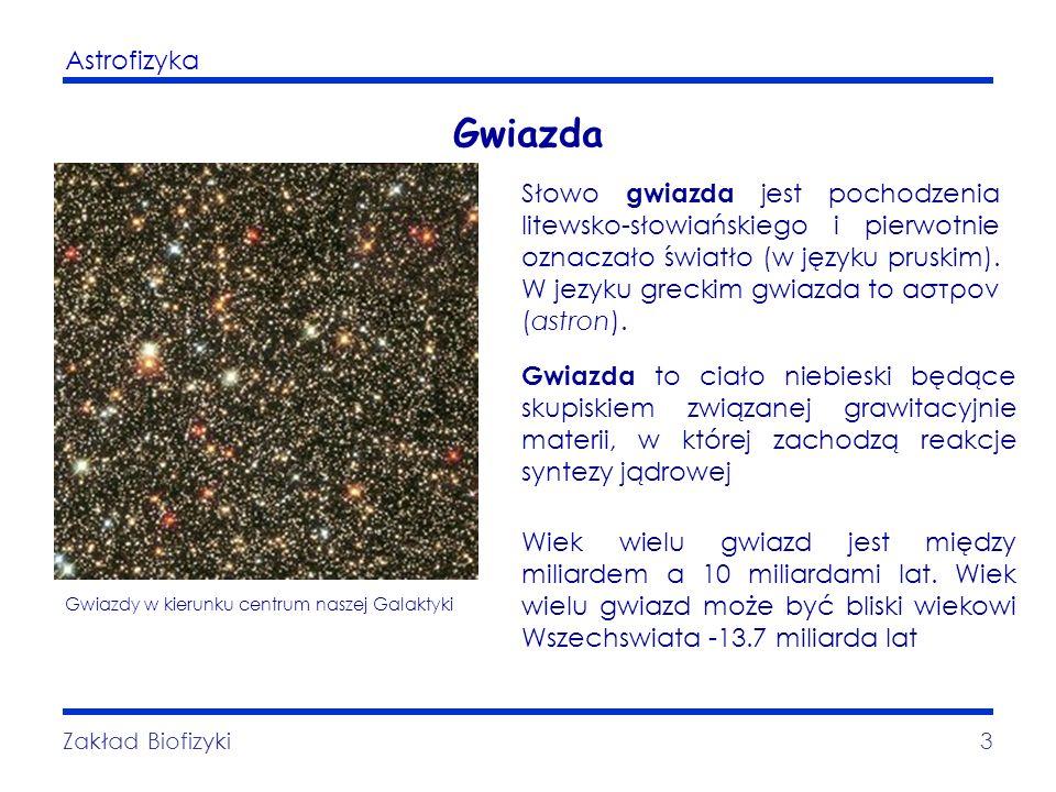 Astrofizyka Zakład Biofizyki3 Gwiazda Słowo gwiazda jest pochodzenia litewsko-słowiańskiego i pierwotnie oznaczało światło (w języku pruskim). W jezyk