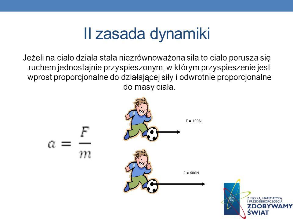 II zasada dynamiki Jeżeli na ciało działa stała niezrównoważona siła to ciało porusza się ruchem jednostajnie przyspieszonym, w którym przyspieszenie