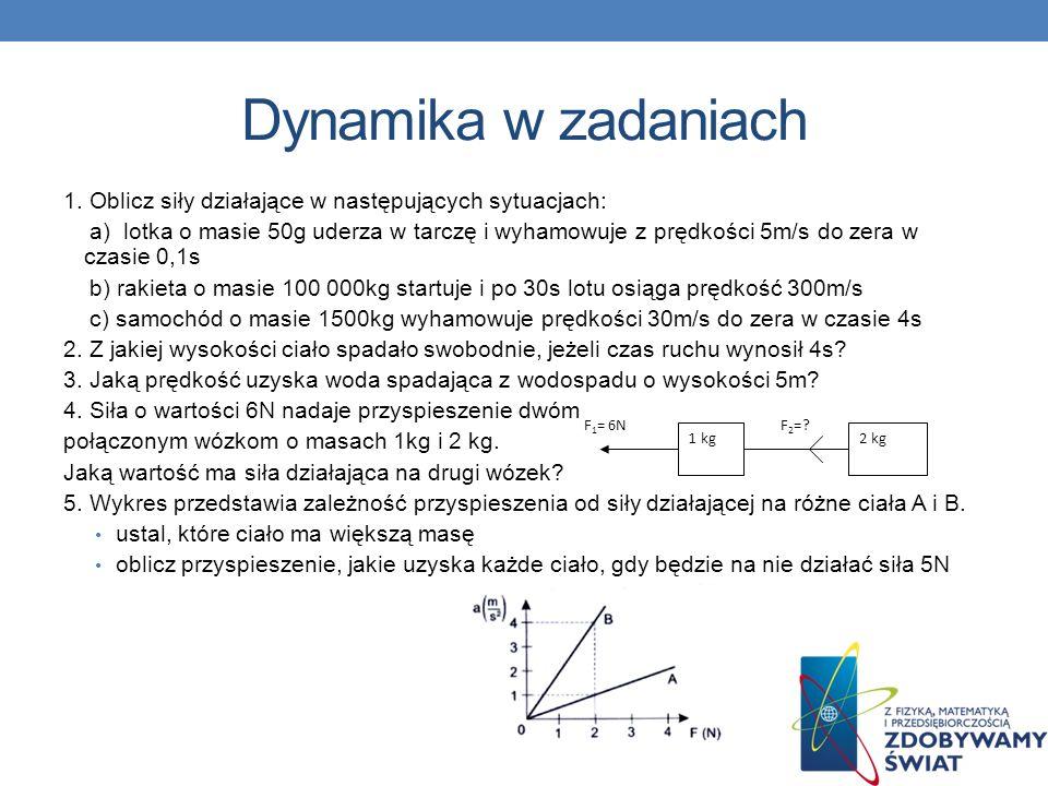Dynamika w zadaniach 1 kg2 kg F 1 = 6NF 2 =? 1. Oblicz siły działające w następujących sytuacjach: a) lotka o masie 50g uderza w tarczę i wyhamowuje z