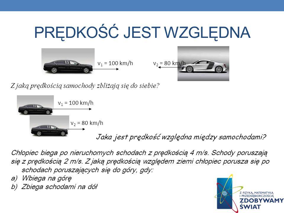 PRĘDKOŚĆ JEST WZGLĘDNA v 1 = 100 km/hv 2 = 80 km/h v 1 = 100 km/h v 2 = 80 km/h Z jaką prędkością samochody zbliżają się do siebie? Jaka jest prędkość
