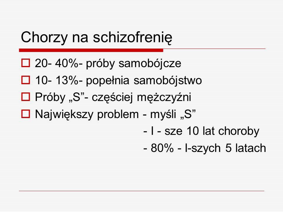 Chorzy na schizofrenię 20- 40%- próby samobójcze 10- 13%- popełnia samobójstwo Próby S- częściej mężczyźni Największy problem - myśli S - I - sze 10 l