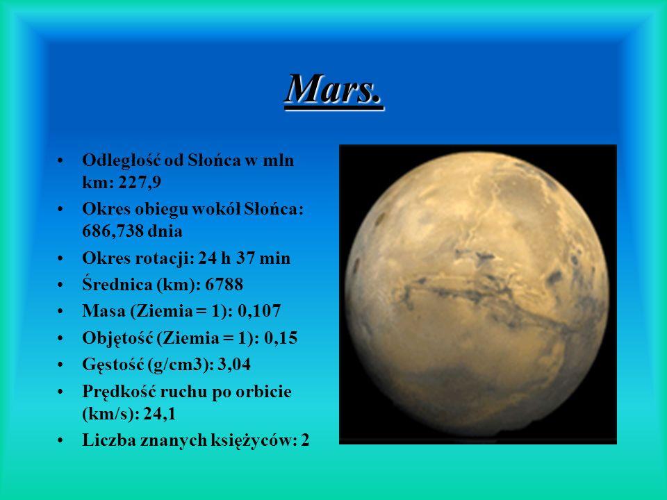 Mars. Odległość od Słońca w mln km: 227,9 Okres obiegu wokół Słońca: 686,738 dnia Okres rotacji: 24 h 37 min Średnica (km): 6788 Masa (Ziemia = 1): 0,