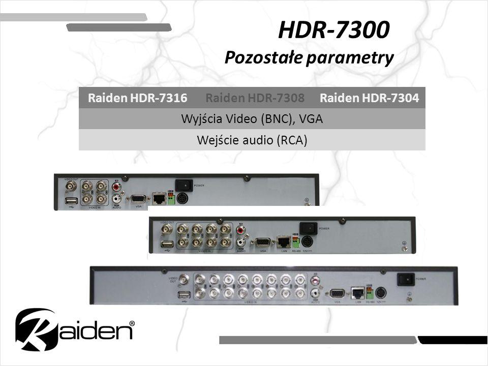 HDR-7300 Pozostałe parametry Raiden HDR-7316Raiden HDR-7308Raiden HDR-7304 Wyjścia Video (BNC), VGA Wejście audio (RCA)