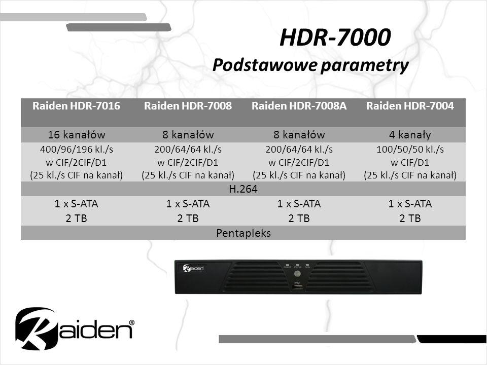 HDR-7000 Podstawowe parametry Raiden HDR-7016Raiden HDR-7008Raiden HDR-7008ARaiden HDR-7004 16 kanałów8 kanałów 4 kanały 400/96/196 kl./s w CIF/2CIF/D