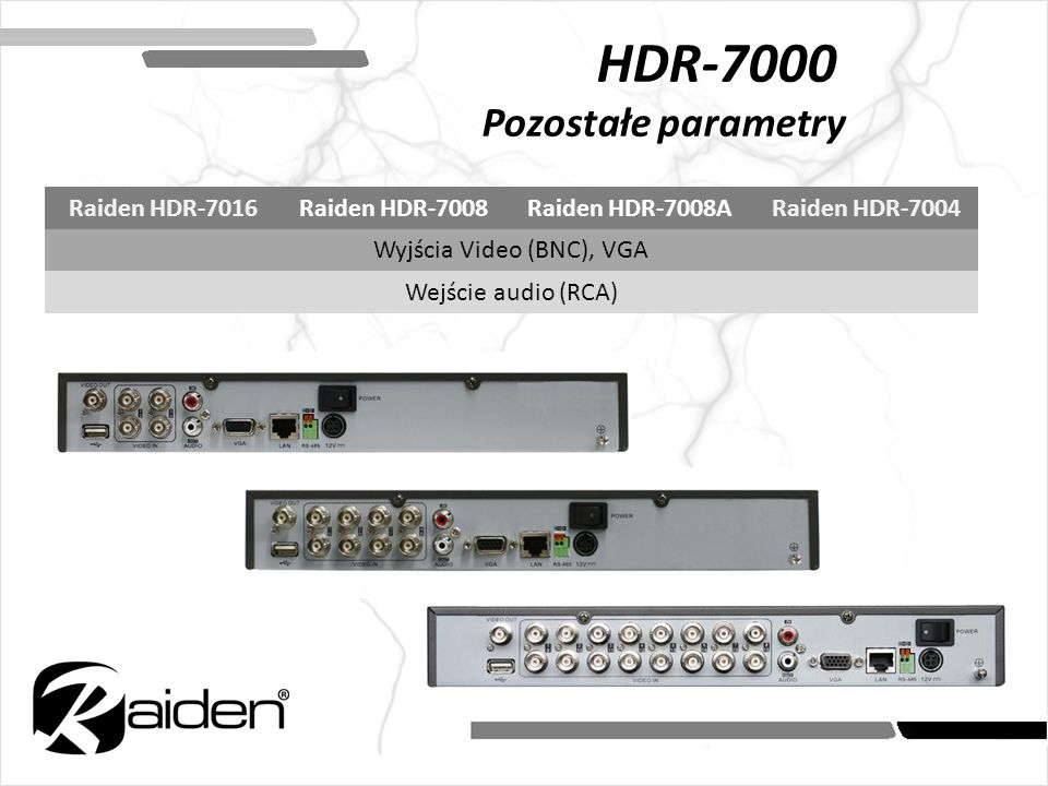 HDR-7000 Pozostałe parametry Raiden HDR-7016Raiden HDR-7008Raiden HDR-7008ARaiden HDR-7004 Wyjścia Video (BNC), VGA Wejście audio (RCA)