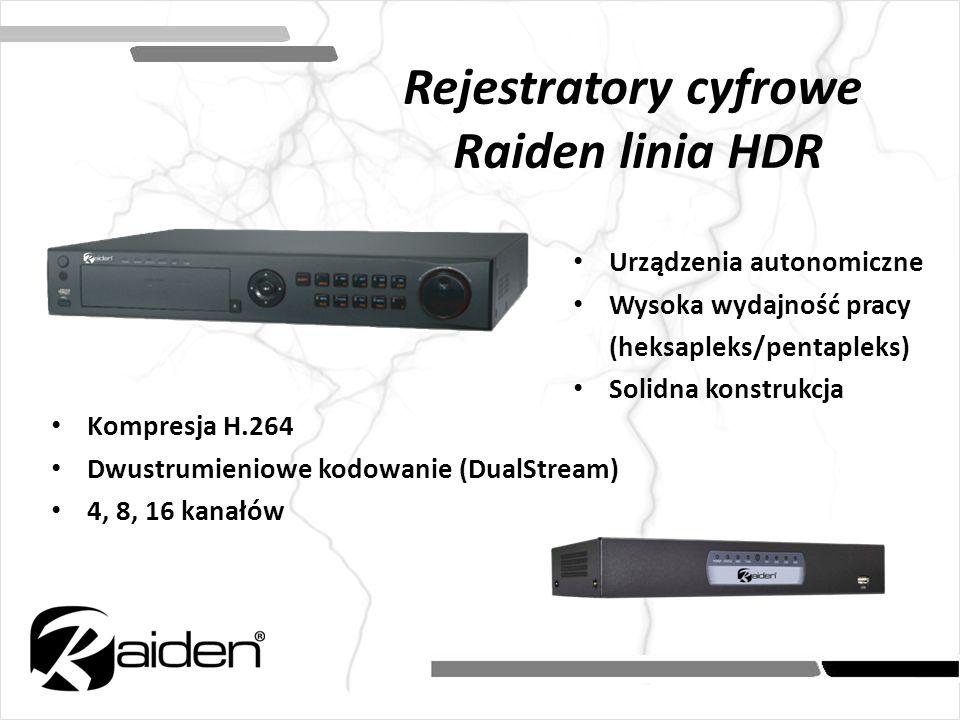 Rejestratory cyfrowe Raiden linia HDR Urządzenia autonomiczne Wysoka wydajność pracy (heksapleks/pentapleks) Solidna konstrukcja Kompresja H.264 Dwust