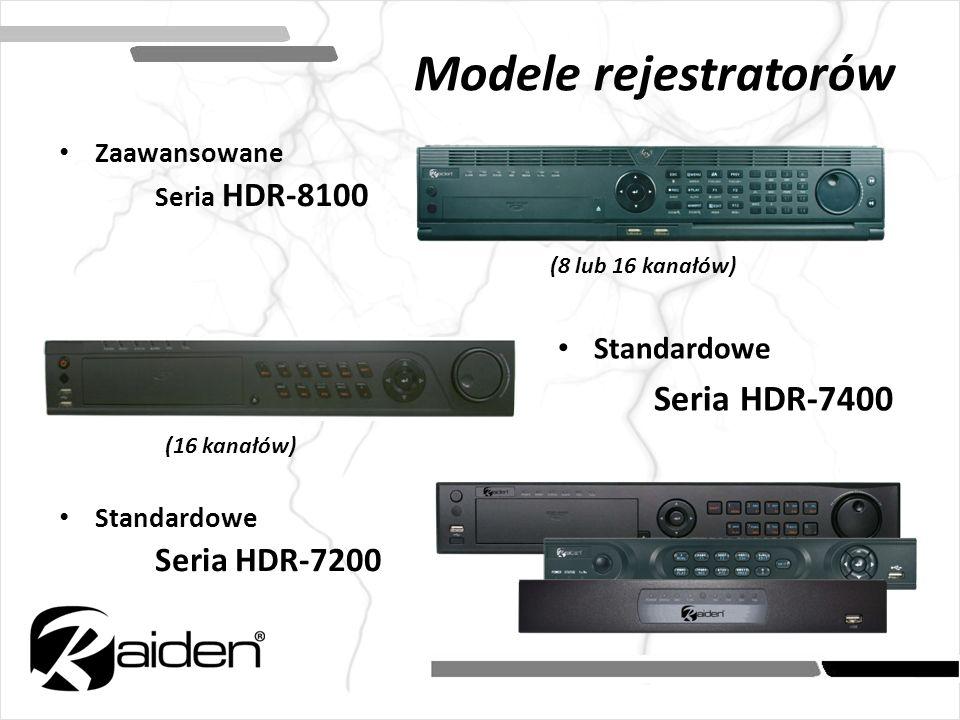 Modele rejestratorów Zaawansowane Seria HDR-8100 Standardowe Seria HDR-7200 (8 lub 16 kanałów) (16 kanałów) Standardowe Seria HDR-7400