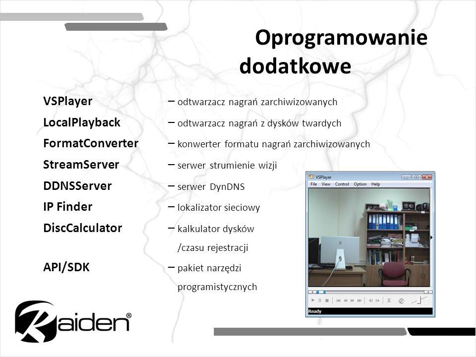 Oprogramowanie dodatkowe VSPlayer – odtwarzacz nagrań zarchiwizowanych LocalPlayback – odtwarzacz nagrań z dysków twardych FormatConverter– konwerter