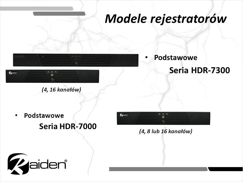Podstawowe Seria HDR-7000 (4, 16 kanałów) (4, 8 lub 16 kanałów) Podstawowe Seria HDR-7300 Modele rejestratorów