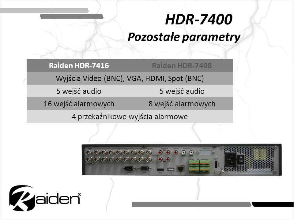 HDR-7400 Pozostałe parametry Raiden HDR-7416Raiden HDR-7408 Wyjścia Video (BNC), VGA, HDMI, Spot (BNC) 5 wejść audio 16 wejść alarmowych8 wejść alarmo