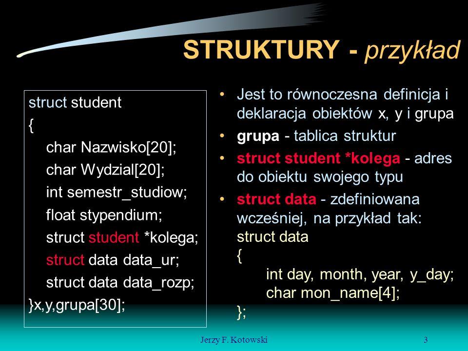 Jerzy F.Kotowski4 Operator składowych struktur To jest to:.
