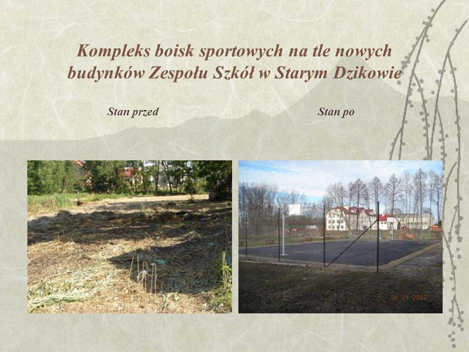 Kompleks boisk sportowych na tle nowych budynków Zespołu Szkół w Starym Dzikowie Stan przedStan po
