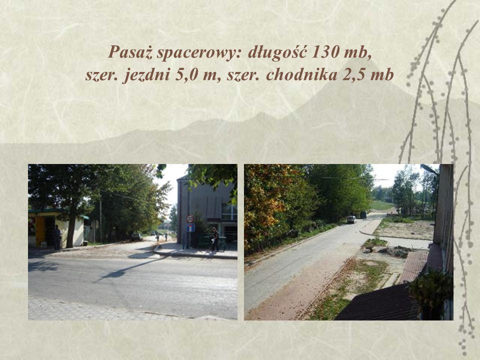 Pasaż spacerowy: długość 130 mb, szer. jezdni 5,0 m, szer. chodnika 2,5 mb