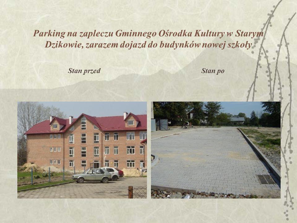 Nieużytek zamieniony na alejkę spacerową nad Potokiem Dzikowskim od strony Zespołu Szkół Stan przed Stan po