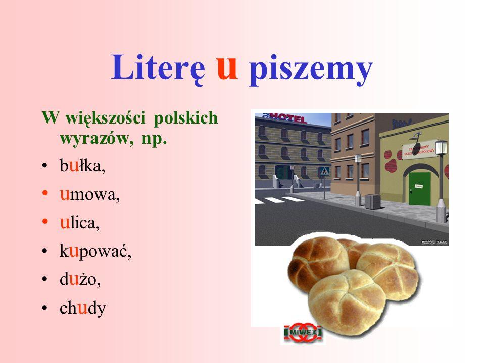 Literę u piszemy W większości polskich wyrazów, np.