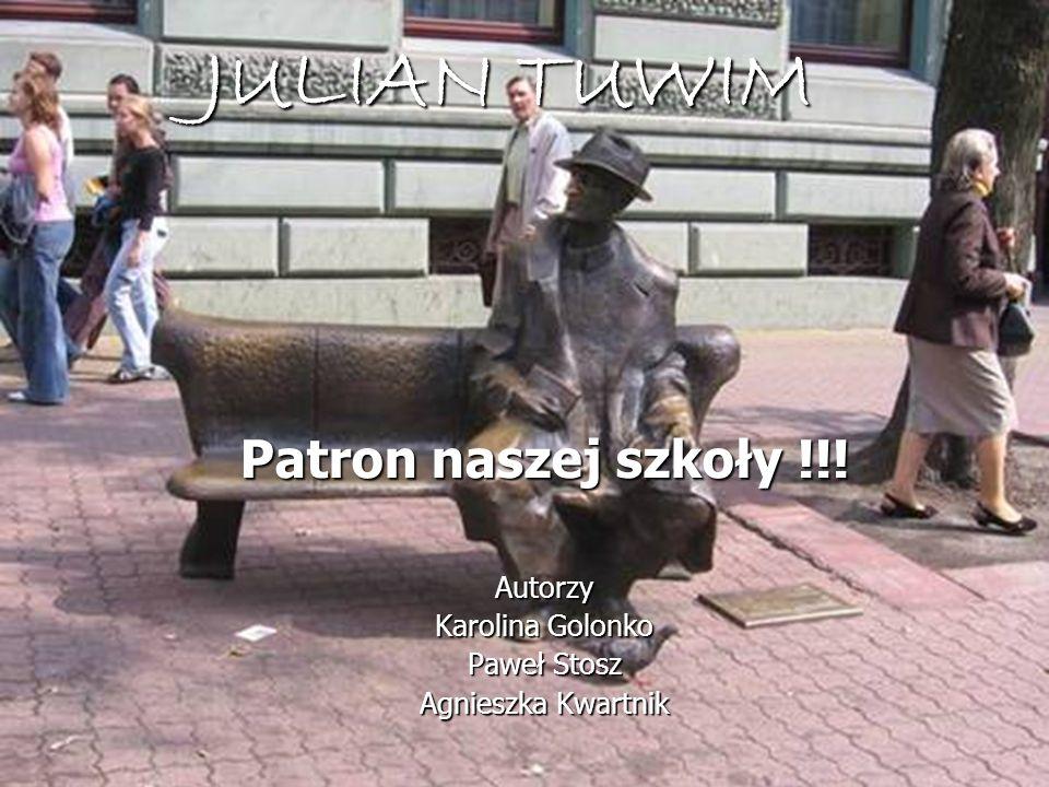JULIAN TUWIM Patron naszej szkoły !!! Autorzy Karolina Golonko Paweł Stosz Agnieszka Kwartnik