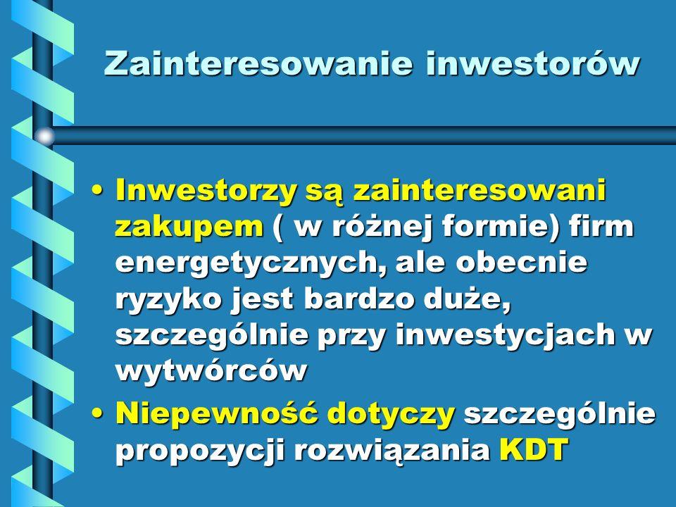 Zainteresowanie inwestorów Inwestorzy są zainteresowani zakupem ( w różnej formie) firm energetycznych, ale obecnie ryzyko jest bardzo duże, szczególn