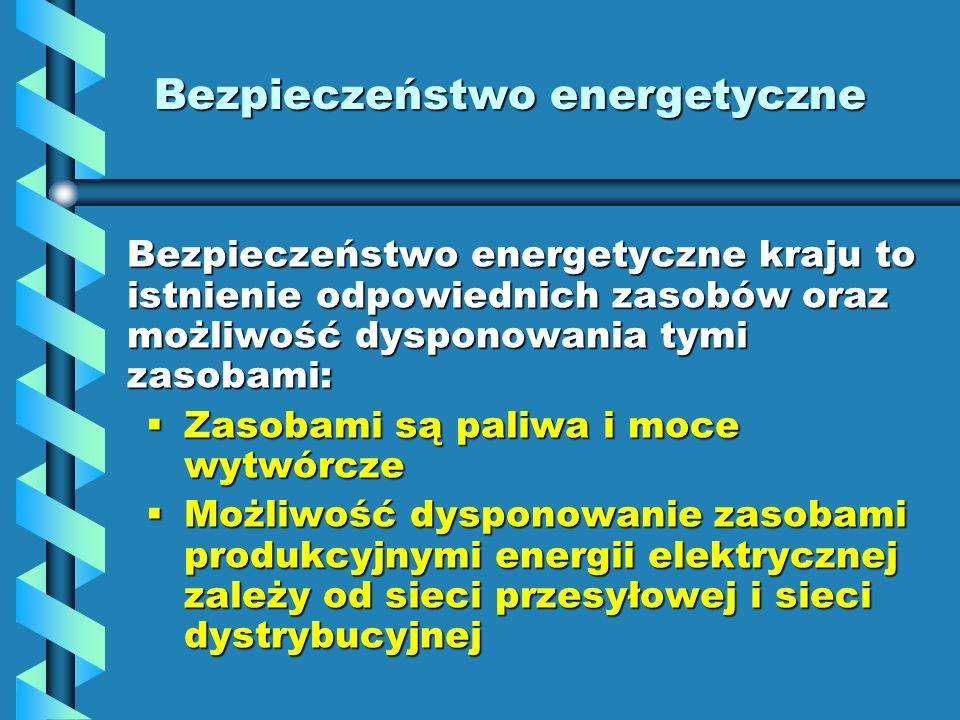 Bezpieczeństwo energetyczne Bezpieczeństwo energetyczne kraju to istnienie odpowiednich zasobów oraz możliwość dysponowania tymi zasobami: Zasobami są