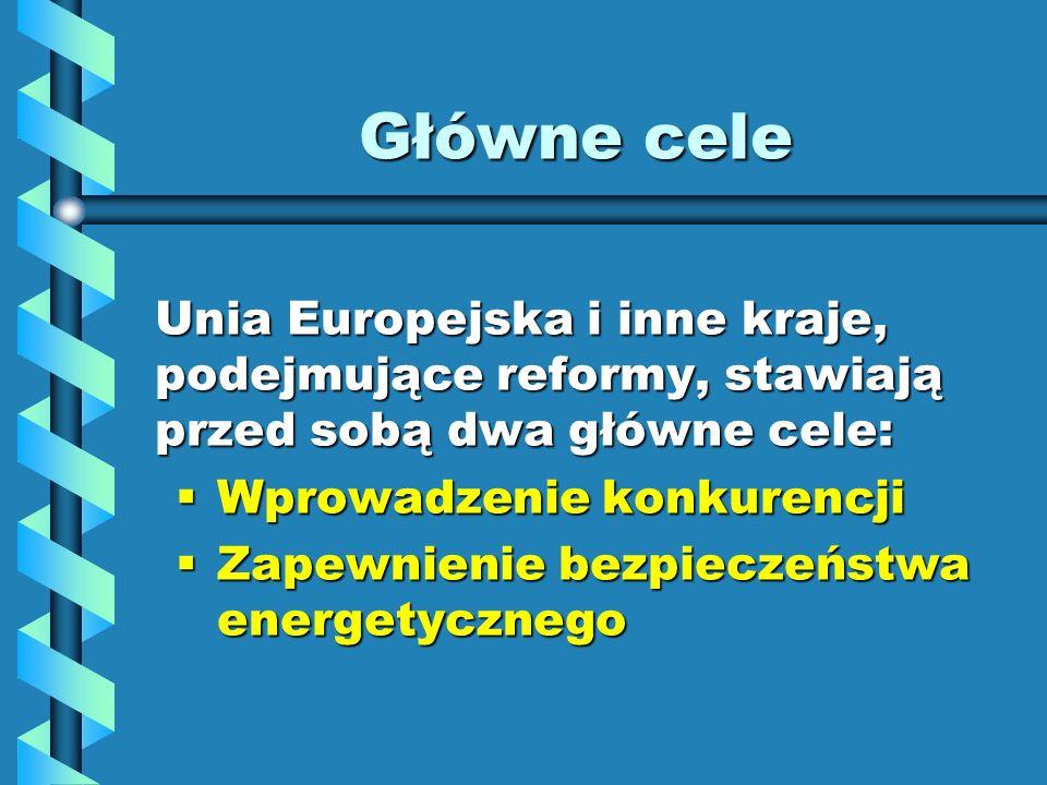 Główne cele Unia Europejska i inne kraje, podejmujące reformy, stawiają przed sobą dwa główne cele: Wprowadzenie konkurencji Wprowadzenie konkurencji
