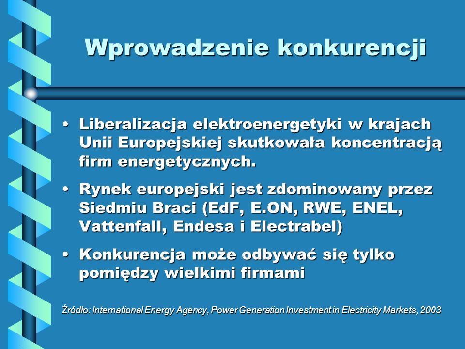 Wprowadzenie konkurencji Liberalizacja elektroenergetyki w krajach Unii Europejskiej skutkowała koncentracją firm energetycznych.Liberalizacja elektro