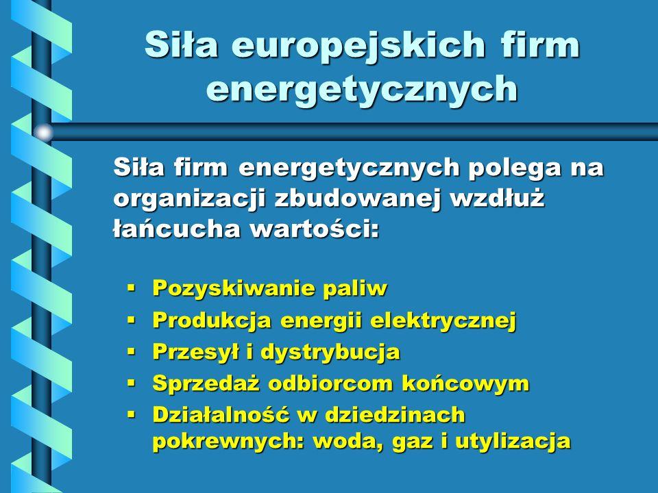Siła europejskich firm energetycznych Siła firm energetycznych polega na organizacji zbudowanej wzdłuż łańcucha wartości: Pozyskiwanie paliw Pozyskiwa
