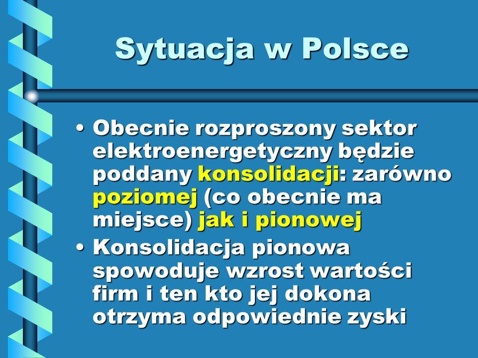 Sytuacja w Polsce Obecnie rozproszony sektor elektroenergetyczny będzie poddany konsolidacji: zarówno poziomej (co obecnie ma miejsce) jak i pionowejO
