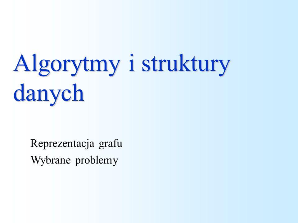 Algorytmy i struktury danych Reprezentacja grafu Wybrane problemy