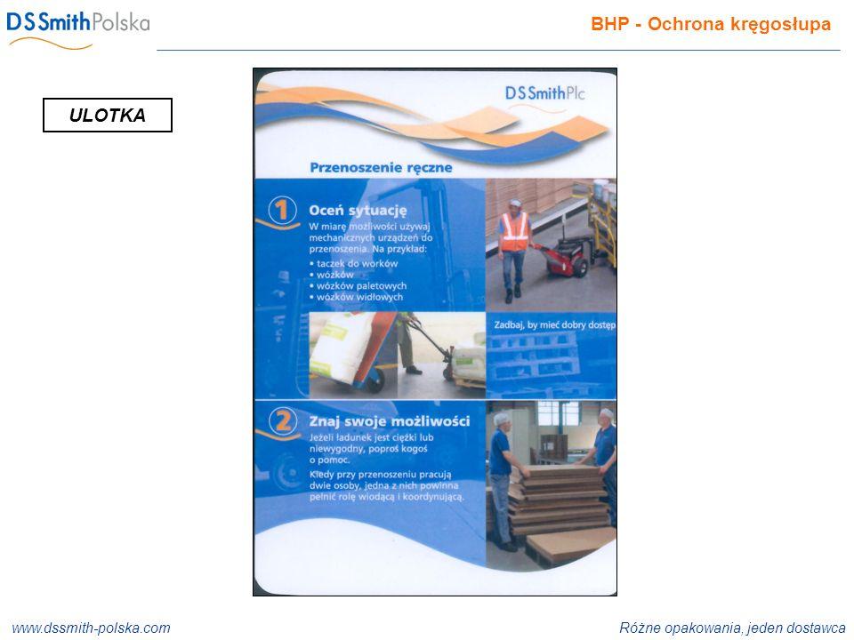 www.dssmith-polska.com Różne opakowania, jeden dostawca ISO 9001:2000 ISO 14001:2004 ISO 22000:2005 BHP - Ochrona kręgosłupa ULOTKA