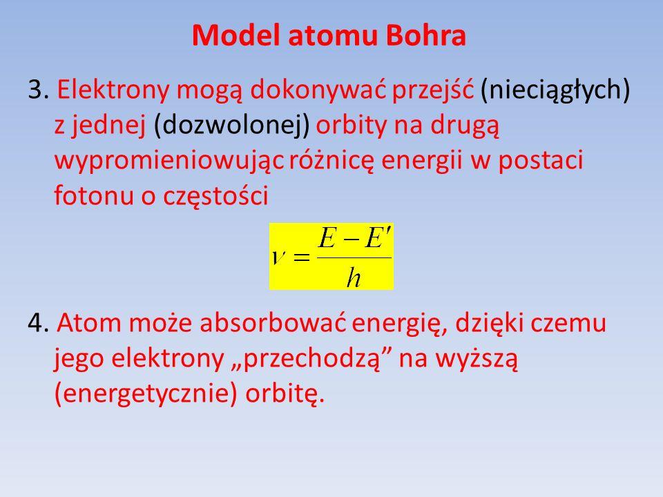 Model atomu Bohra 3. Elektrony mogą dokonywać przejść (nieciągłych) z jednej (dozwolonej) orbity na drugą wypromieniowując różnicę energii w postaci f