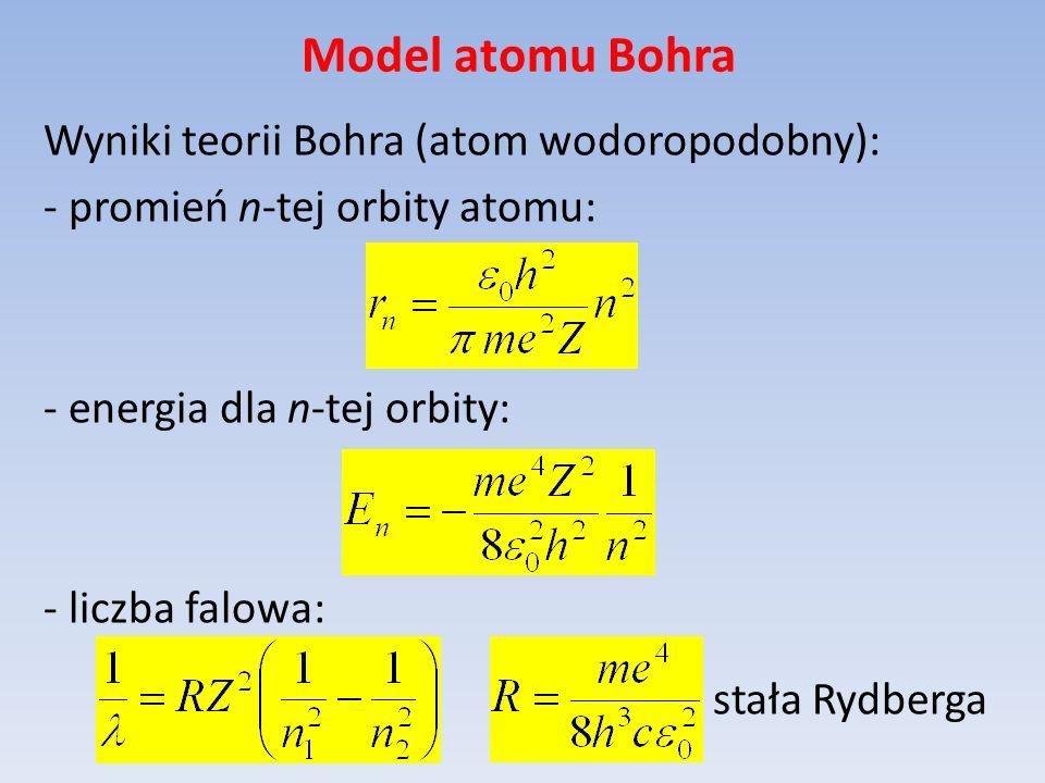 Model atomu Bohra Wyniki teorii Bohra (atom wodoropodobny): - promień n-tej orbity atomu: - energia dla n-tej orbity: - liczba falowa: stała Rydberga