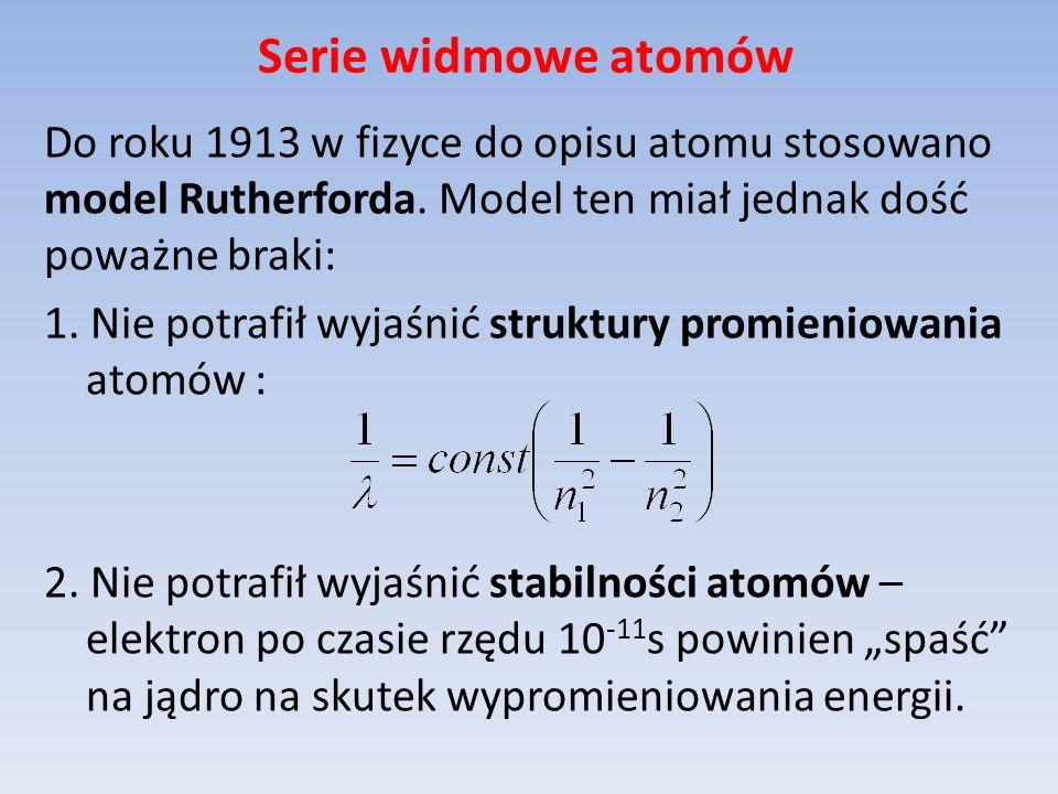 Serie widmowe atomów Do roku 1913 w fizyce do opisu atomu stosowano model Rutherforda. Model ten miał jednak dość poważne braki: 1. Nie potrafił wyjaś