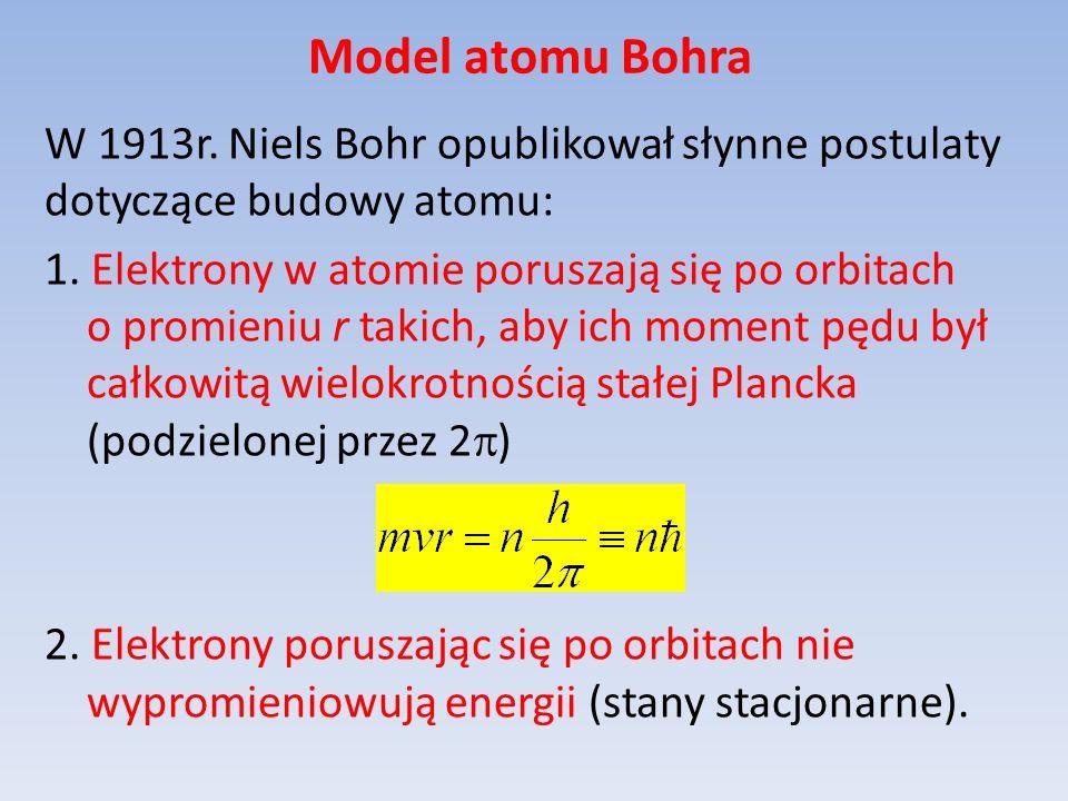 Model atomu Bohra W 1913r. Niels Bohr opublikował słynne postulaty dotyczące budowy atomu: 1. Elektrony w atomie poruszają się po orbitach o promieniu