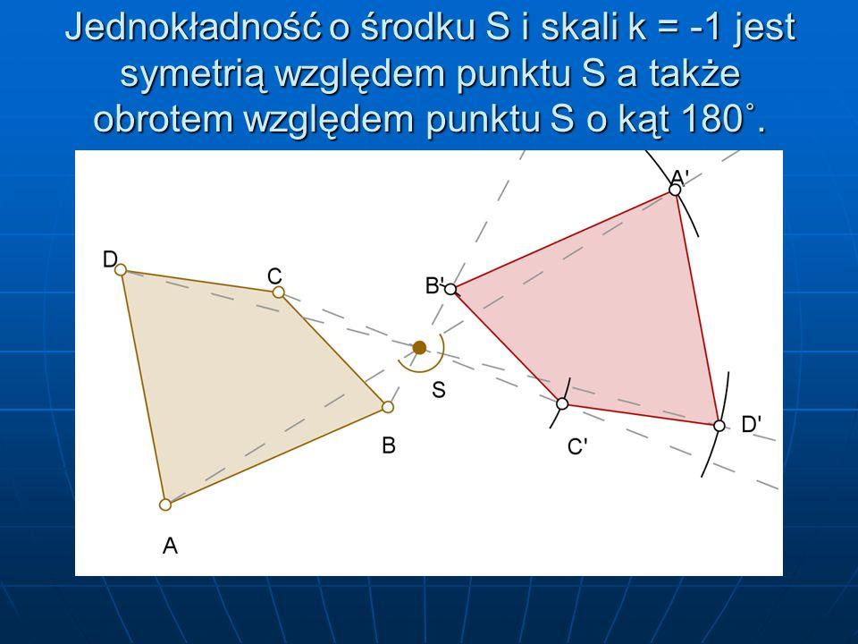 Jednokładność o środku S i skali k = -1 jest symetrią względem punktu S a także obrotem względem punktu S o kąt 180˚.