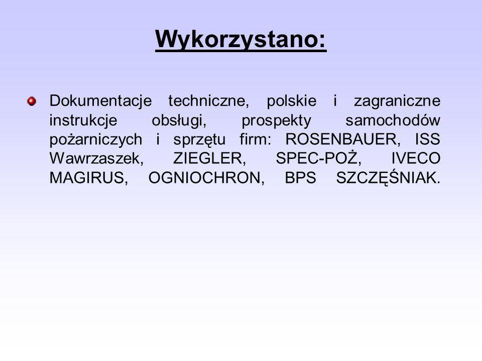 Dokumentacje techniczne, polskie i zagraniczne instrukcje obsługi, prospekty samochodów pożarniczych i sprzętu firm: ROSENBAUER, ISS Wawrzaszek, ZIEGL