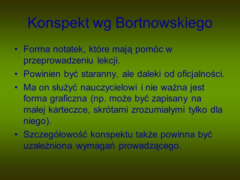 Konspekt wg Bortnowskiego Forma notatek, które mają pomóc w przeprowadzeniu lekcji. Powinien być staranny, ale daleki od oficjalności. Ma on służyć na