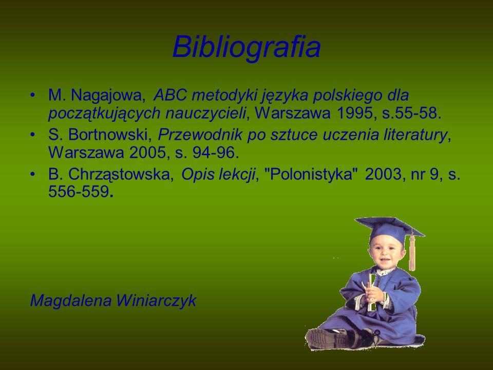 Bibliografia M. Nagajowa, ABC metodyki języka polskiego dla początkujących nauczycieli, Warszawa 1995, s.55-58. S. Bortnowski, Przewodnik po sztuce uc