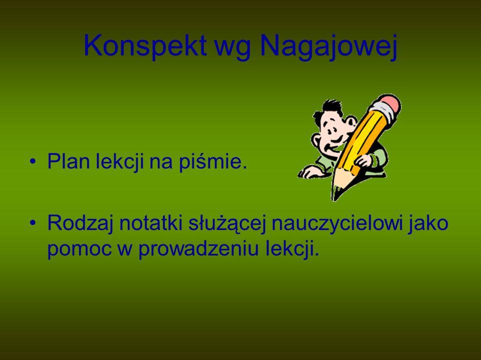 Konspekt wg Nagajowej Plan lekcji na piśmie. Rodzaj notatki służącej nauczycielowi jako pomoc w prowadzeniu lekcji.
