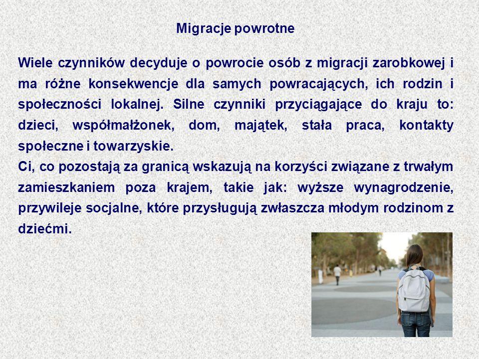 Migracje powrotne Wiele czynników decyduje o powrocie osób z migracji zarobkowej i ma różne konsekwencje dla samych powracających, ich rodzin i społec